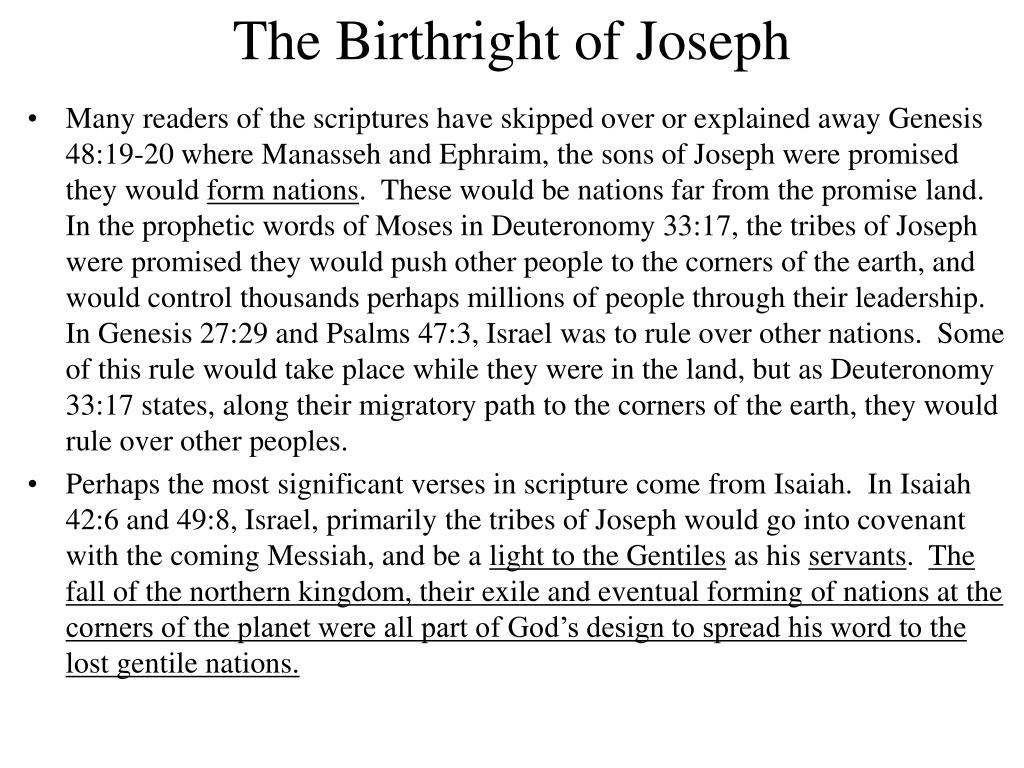 The Birthright of Joseph