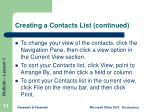 creating a contacts list continued11