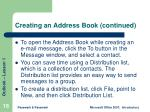 creating an address book continued
