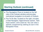 starting outlook continued