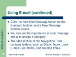 using e mail continued