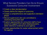 what service providers can do to ensure successful consumer involvement2