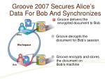 groove 2007 secures alice s data for bob and synchronizes