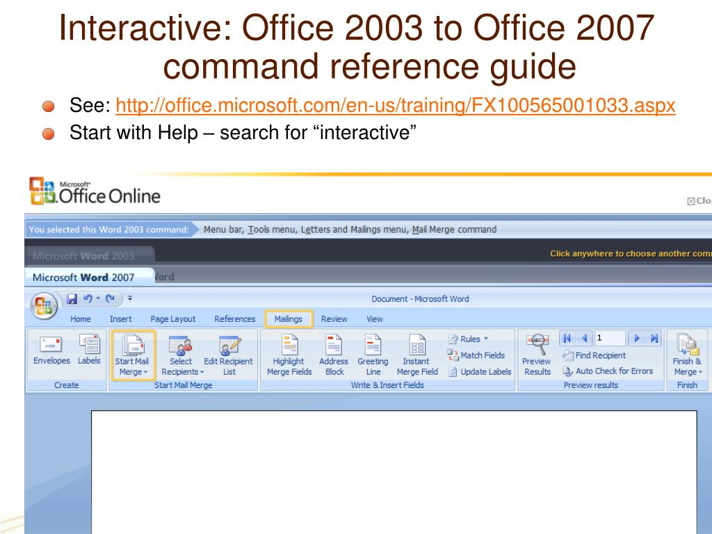 Interactive: Office 2003 to Office 2007 command reference guide