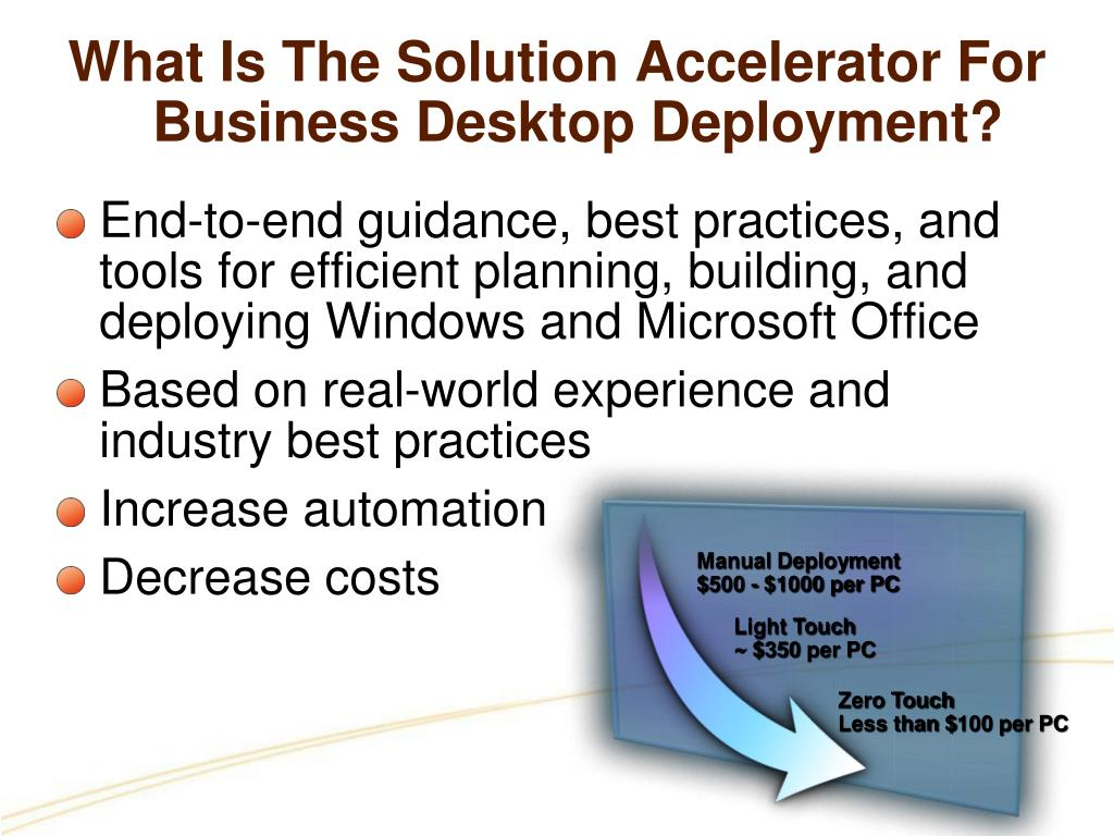 What Is The Solution Accelerator For Business Desktop Deployment?