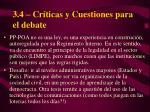 3 4 cr ticas y cuestiones para el debate