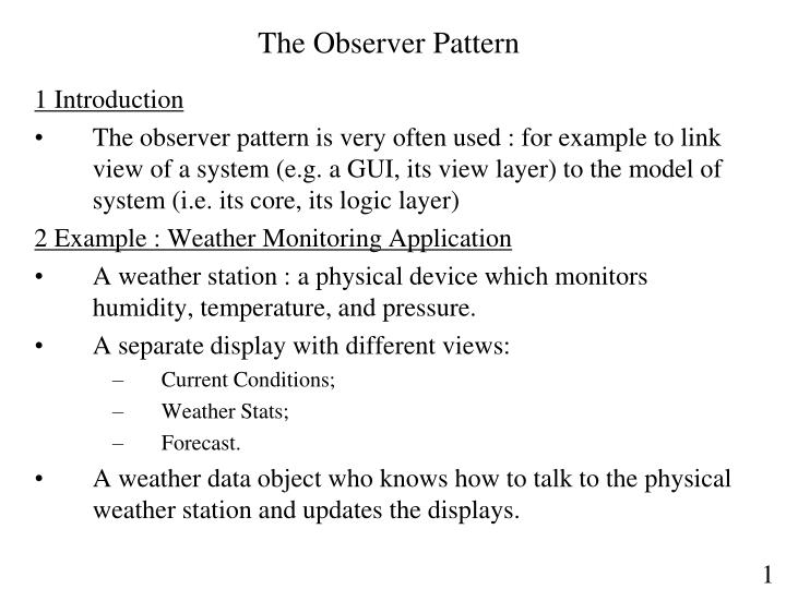 the observer pattern n.