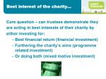 best interest of the charity