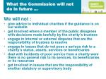 what the commission will not do in future