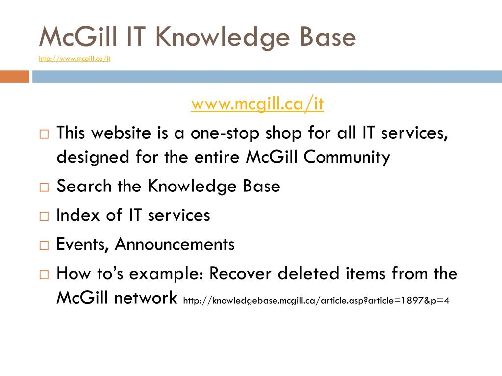 McGill IT Knowledge Base