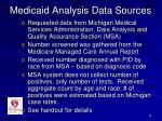 medicaid analysis data sources