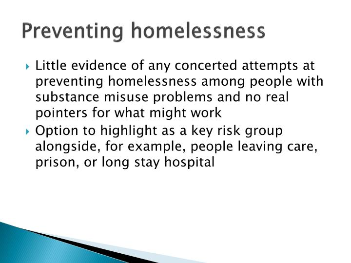 preventing homelessness The facts while many people group hunger and homelessness together, the two issues are not as closely related as one might think a look at the facts show that both hunger and homelessness have distinct causes, and impact different segments of the population hungerhomelessnessmake a difference.