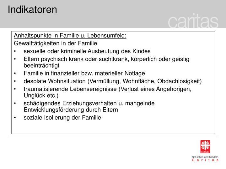 Anhaltspunkte in Familie u. Lebensumfeld: