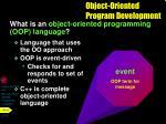 object oriented program development1