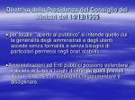 direttiva della presidenza del consiglio dei ministri del 14 12 19951
