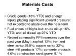 materials costs 2