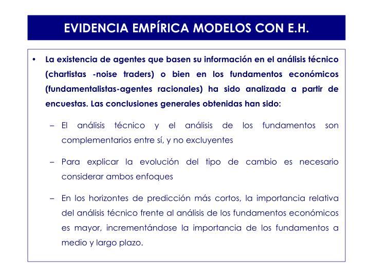 EVIDENCIA EMPÍRICA MODELOS CON E.H.