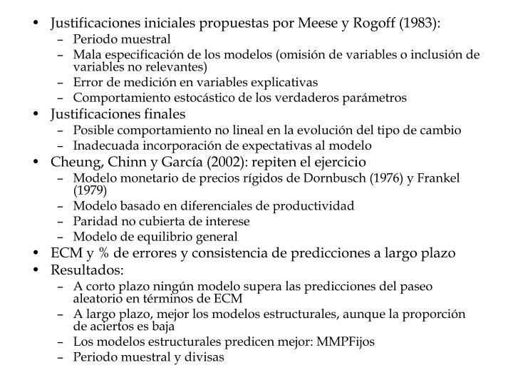 Justificaciones iniciales propuestas por Meese y Rogoff (1983):