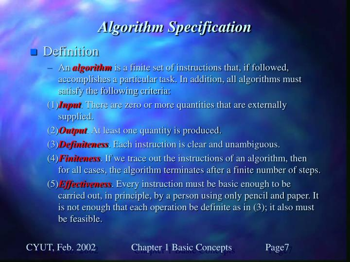 Algorithm Specification