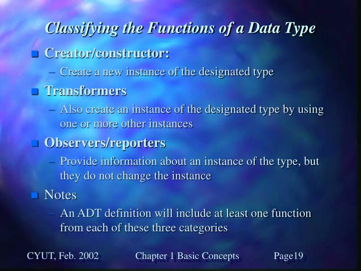 Classifying the Functions of a Data Type