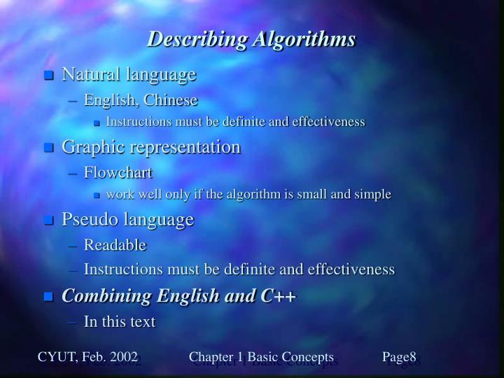 Describing Algorithms