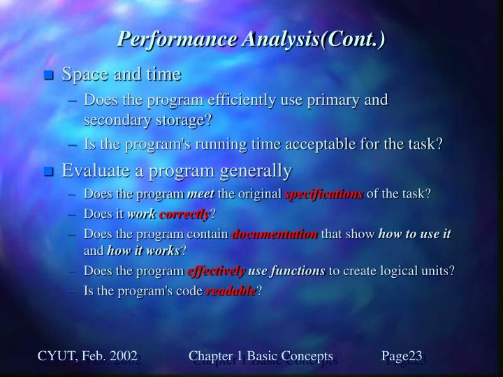 Performance Analysis(Cont.)