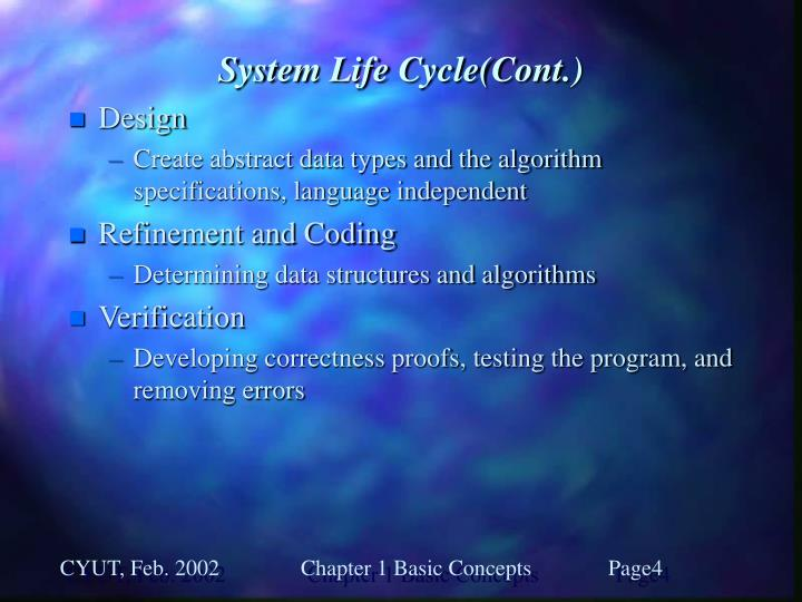 System Life Cycle(Cont.)