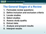 the general stages of a review