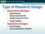 type of research design