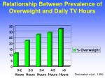 relationship between prevalence of overweight and daily tv hours