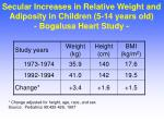 secular increases in relative weight and adiposity in children 5 14 years old bogalusa heart study