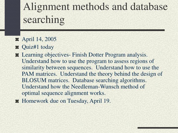 alignment methods and database searching n.