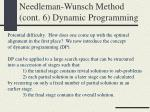 needleman wunsch method cont 6 dynamic programming