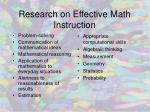 research on effective math instruction