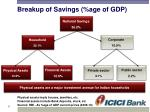 breakup of savings age of gdp