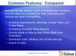 common features compared