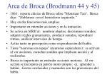 area de broca brodmann 44 y 45