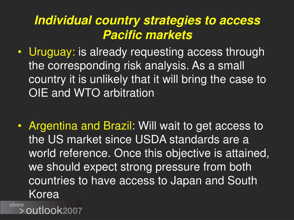 Individual country strategies to access Pacific markets