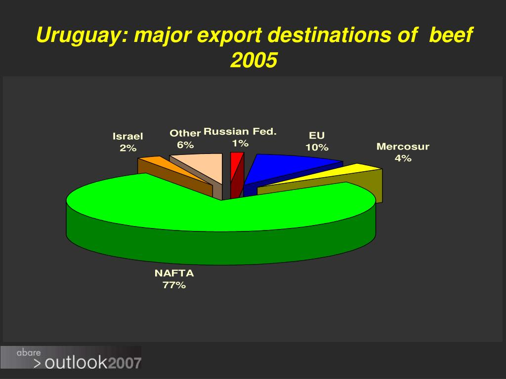 Uruguay: major export destinations of  beef 2005