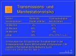 transmissions und manifestationsrisiko