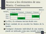 acceso a los elementos de una matriz continuaci n
