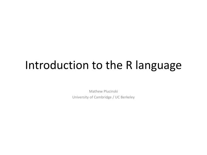 introduction to the r language n.