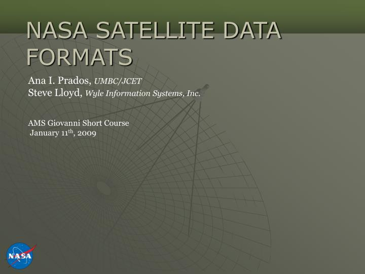 Nasa satellite data formats