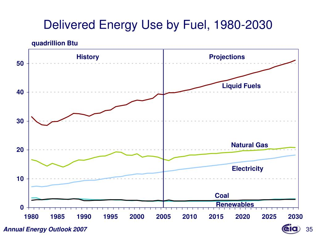 Delivered Energy Use by Fuel, 1980-2030