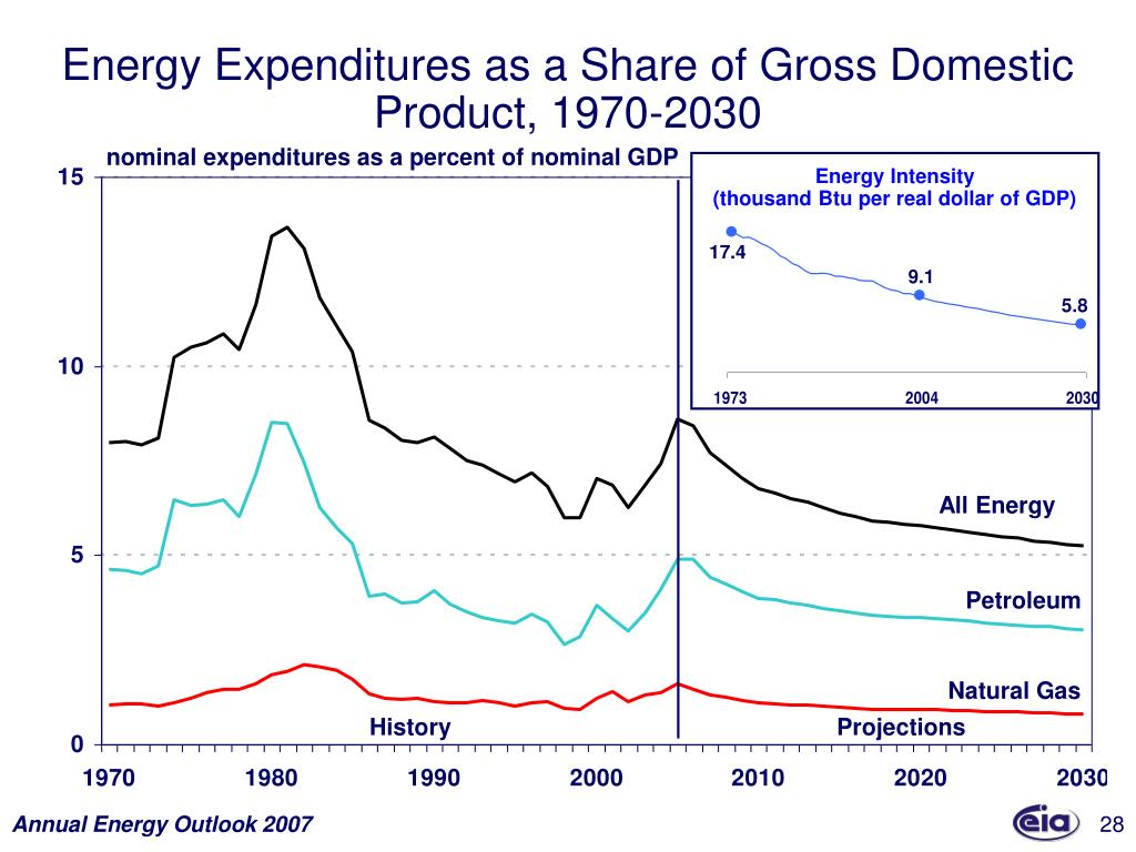Energy Expenditures as a Share of Gross Domestic Product, 1970-2030
