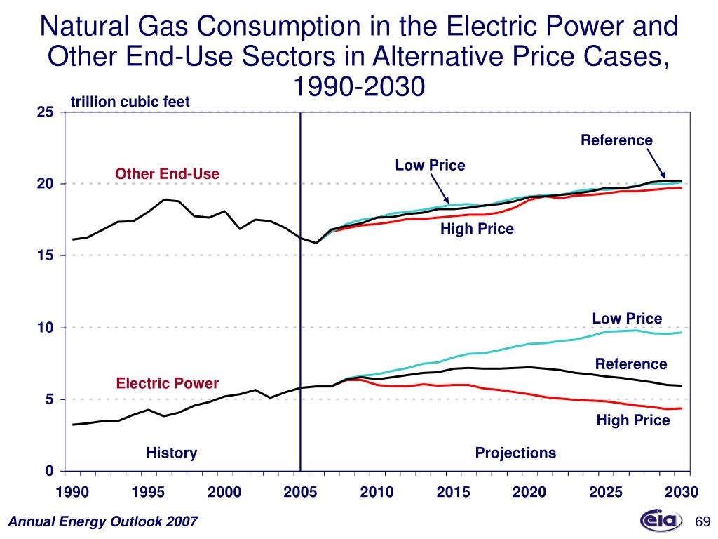 Natural Gas Consumption in the Electric Power and Other End-Use Sectors in Alternative Price Cases, 1990-2030