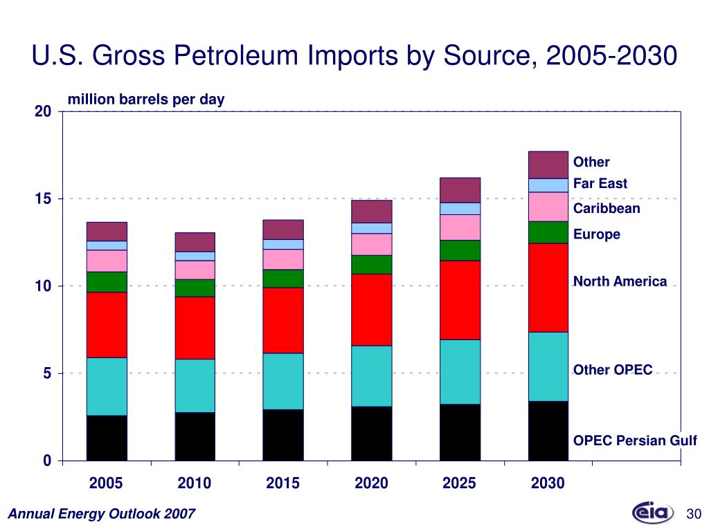 U.S. Gross Petroleum Imports by Source, 2005-2030