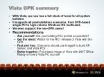 vista opk summary