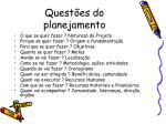 quest es do planejamento