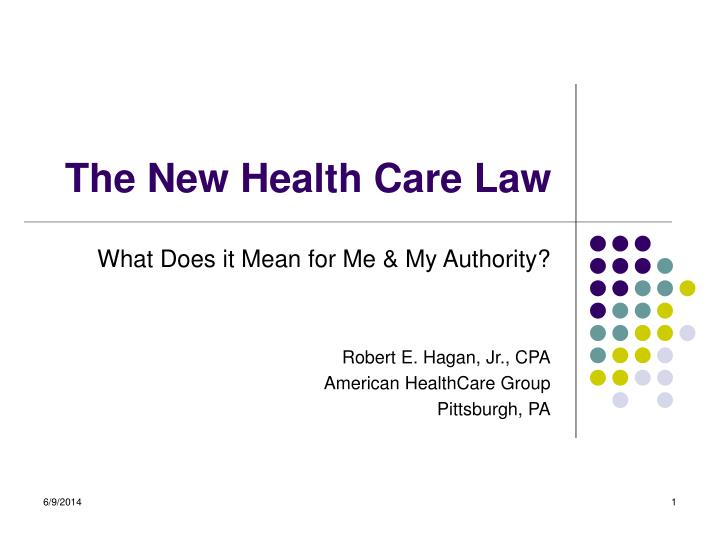 the new health care law n.